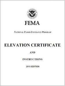 Example of a FEMA Elevation Certificate for flood certification.
