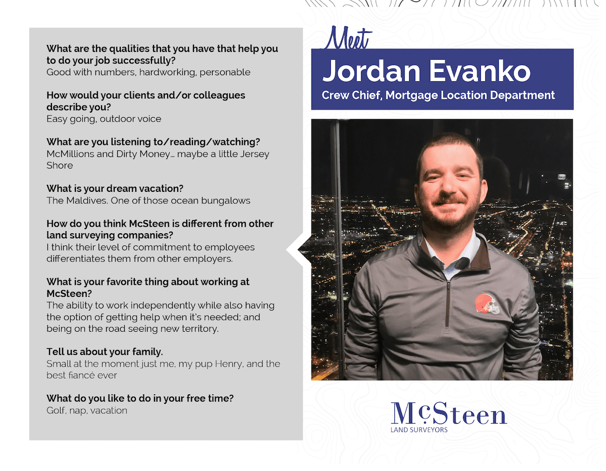 McSteen team member, Jordan Evanko, headshot and bio.